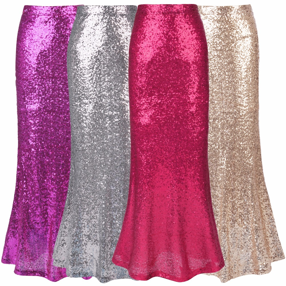 2018 Women Sexy Long Maxi Skirt Mermaid Solid High Waist Plus Size Ladies Party Club Sequined Mermaid Skirts