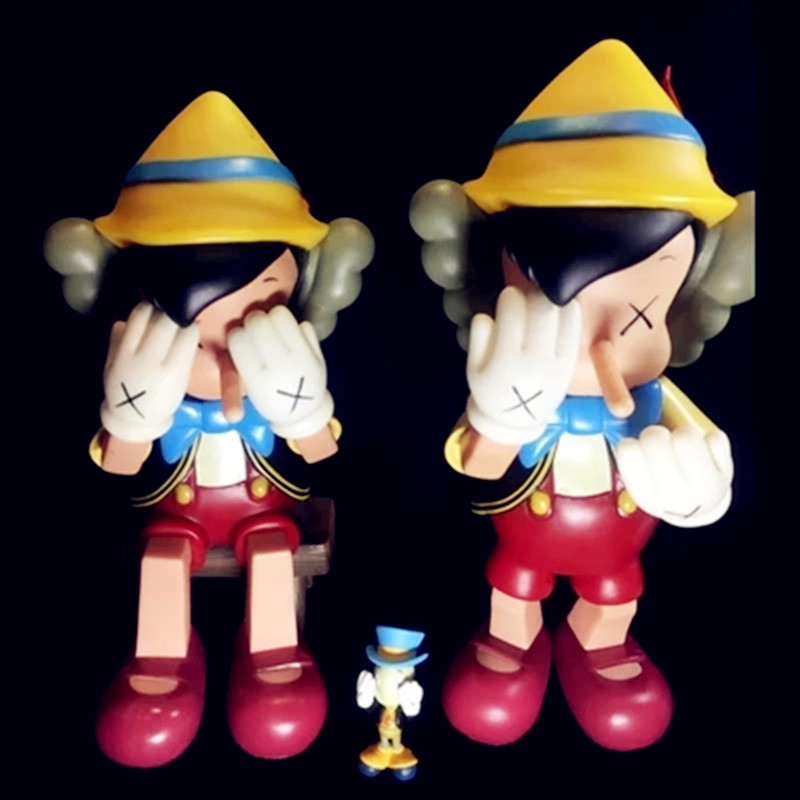45CM BFF KAWS OriginalFake Medicom Toy Pinocchio & Jiminy Stand PVC Action Figure Collection Model Toy G1087 2 colour outer space trophy electroplating kaws bape milo kabinett ver medicom toy pvc action figure collection model toy g690