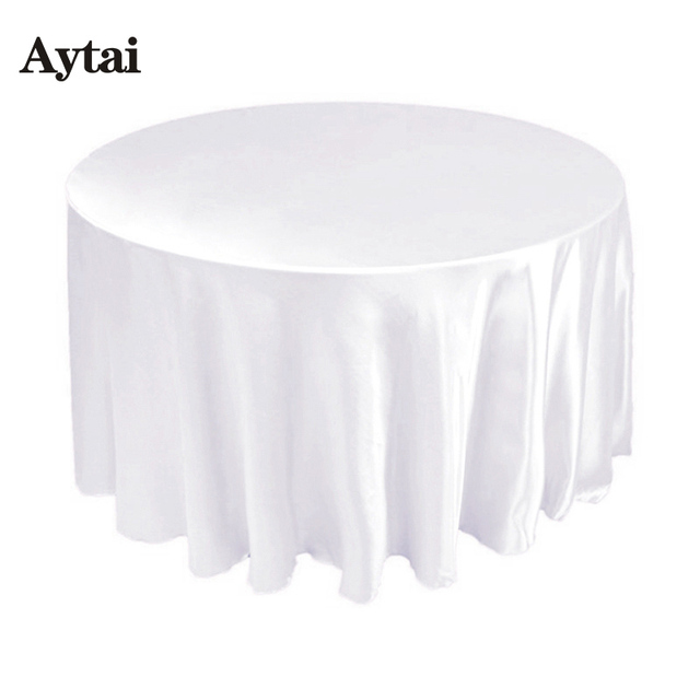 Aytai 10pcs 90 Inch Round Satin Table Covers Tablecloth Black/White For  Wedding Decoration Banquet