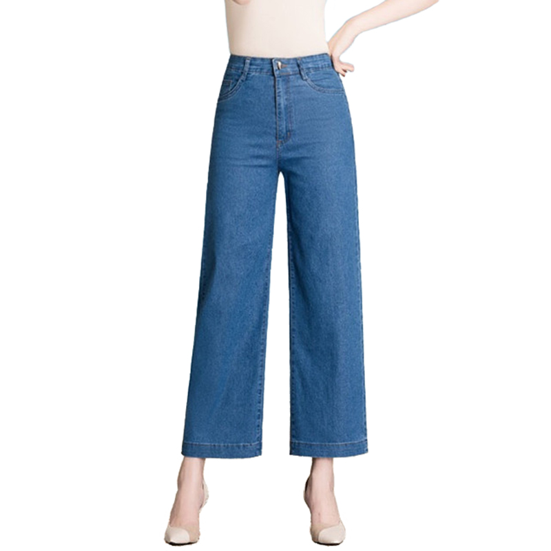 Fashion High Waist Jeans Women 2019 Summer Plus Size Wide Leg Pants Middle-aged Woman Thin Denim Pants Ankle-Length Pants A2833
