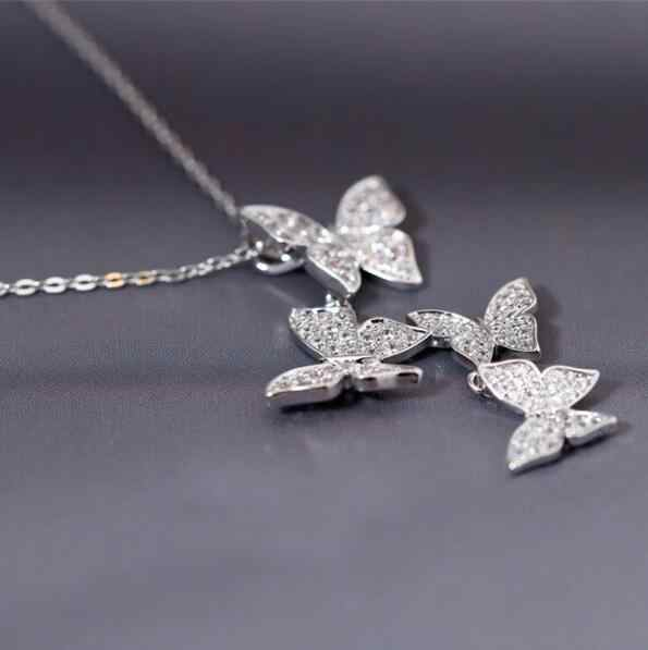 Hfarich silver Multiple Zircon Butterfly Necklaces & Pendants for Women CZ Wedding Statement Choker Necklace Gifts