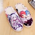Anime Re Zero kara Hajimeru Isekai  Ram Rem Emilia Womens Warm Soft Shoes Plush Antiskid Home Indoor Slippers