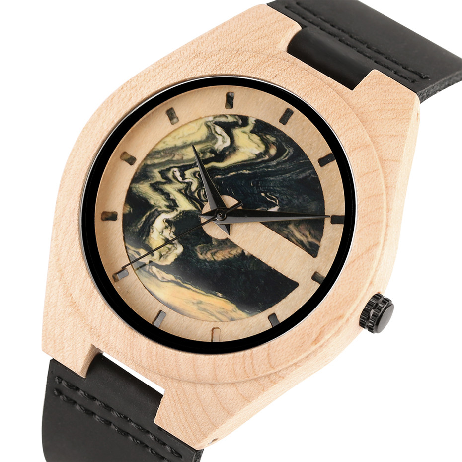 Nature Bamboo Wooden Watch Men Casual Marble Pattern Dial Black Leather Strap Creative Watches Quartz Wood Clock Gifts 2018 New