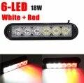 6 LED Rojo/Blanco Del Coche del Flash del Estroboscópico Luz de Emergencia Dash Advertencia Intermitente Luz Diurna Faros de niebla 18 W Señal Luz corriente