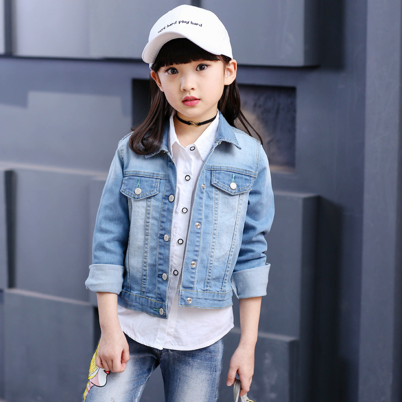 New Girls Jeans coat denim jacket spring autumn kids outwear  Veste Enfant Fille Girls Jacket   7CT041