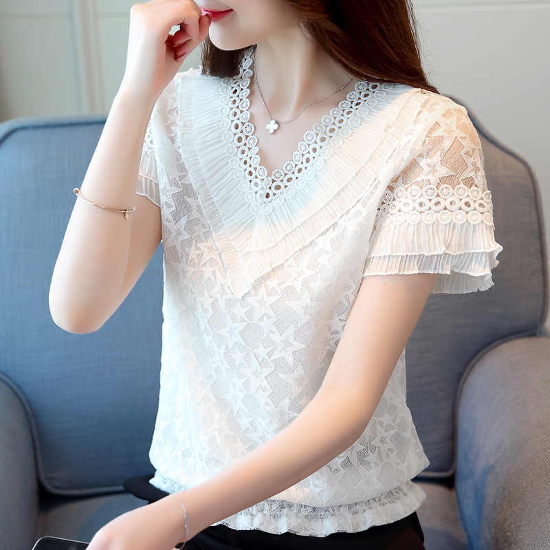 d5f3f8e630e7d6 ... Fashion women blouses 2018 summer lace women tops blusas feminina lace  women shirt short sleeve lace ...