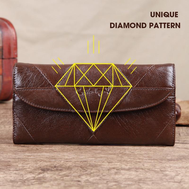 Cobbler Legend Diamonds Patchwork Genuine Leather Wallet Men's Wallets