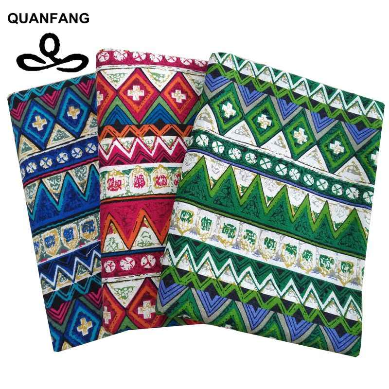 QUANFANG Zaka Printed Cotton Linen Fabric For DIY Quilting /Sewing Sofa/Table Cloth/Curtain/Bag/Cushion Material/ Half Meter
