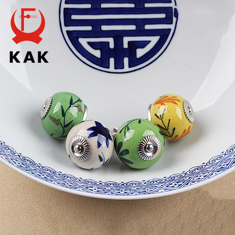 KAK 5pcs/lot Hand-painted Ceramic Drawer Knobs Rural China Style Cabinet Cupboard Handles Modern Furniture Handle Hardware