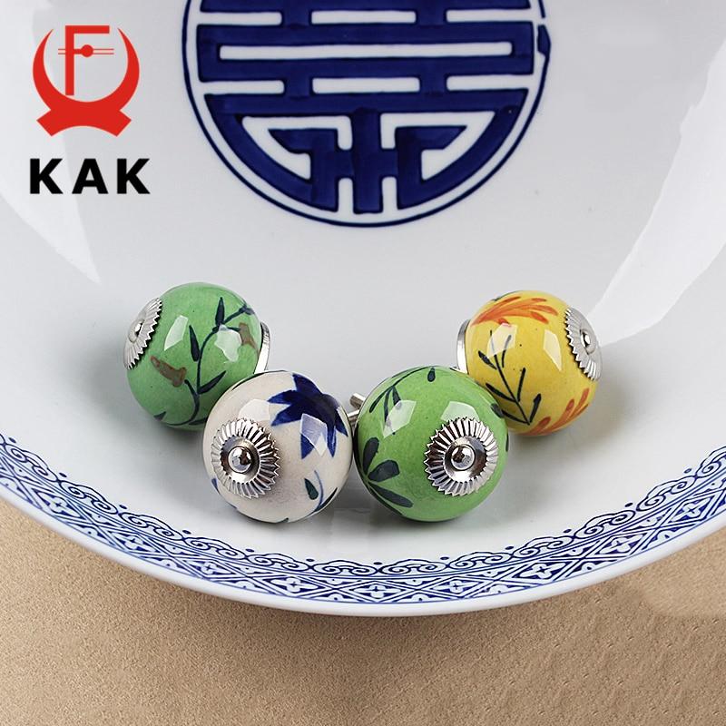 KAK 5pcs/lot Hand-painted Ceramic Drawer Knobs Rural China Style Cabinet Cupboard Handles Modern Furniture Handle Hardware