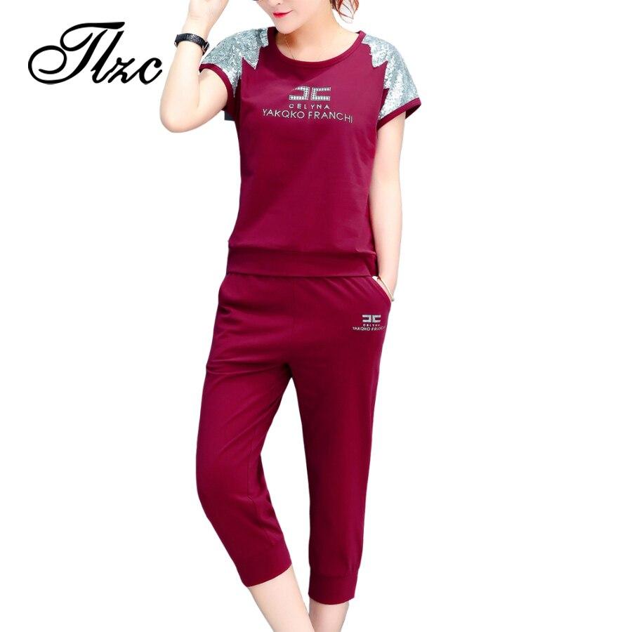 TLZC Summer Women 2 Pcs Sets Sequin Shoulder Tee Pants Plus Size M 4XL Fashion Casual