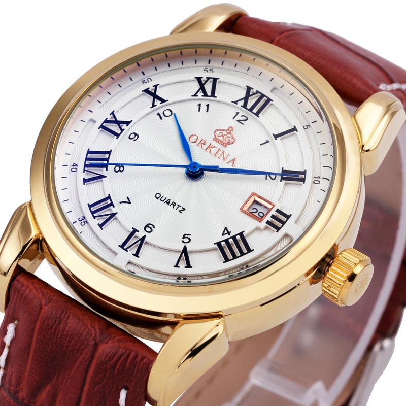 Prix pour ORKINA Montre-Bracelet Hommes 2017 Top Marque De Luxe Célèbre Montre-Bracelet Homme Horloge À Quartz Montre Bracelet En Cuir Relogio Masculino + BOÎTE