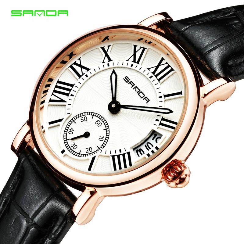 SANDA női órák divat Retro alkalmi naptár kvarc wristwatch - Női órák