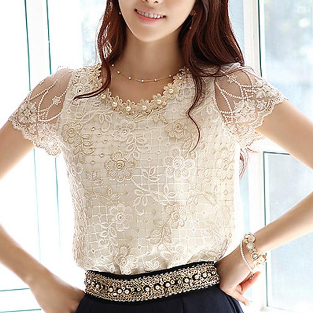 Chiffon Summer 2019 Fashion New Korean Purple Short Sleeve Women Tops Lace Blouses Shirt Petal Round Neck Blusas Mujer 511H3