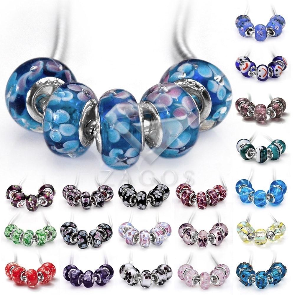 5Pcs Murano Lampwork Glass Beads 14x14x10mm Colourful ...