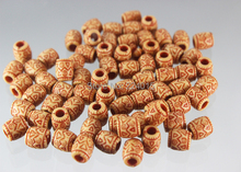 Hot Selling!150pcs/9*8mm Acrylic Big Hole Imitation Natural Wood Print Classical Beads For Necklace / Bracelet DIY
