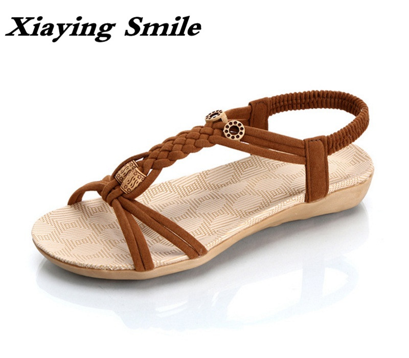 Xiaying Smile Summer Woman Sandals Shoes Women Flats Shoes Casual Bohemian Style Beach Slip On String Bead Rubber Women Shoes xiaying smile summer new woman sandals platform women pumps buckle strap high square heel fashion casual flock lady women shoes