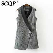 SCQP Irregular Black Lady Plaid Vest Floral Single Button Fashion Formal Sleeveless Blazer Autumn Casual Slim Womens Vests 2016
