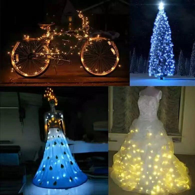 50 pcs * 10 M 100 led Alimentado Por Bateria 3AA Decorativa LED Fio de Cobre Luzes Cordas de Fadas para o Natal de Casamento partes - 4