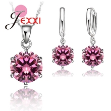 JEXXI Woman 925 Sterling Silver 8MM Jewelry Sets Cubic Zircon Crystal Lever Back Earrings Pendant Necklace Nice Gifts 8MM Stone