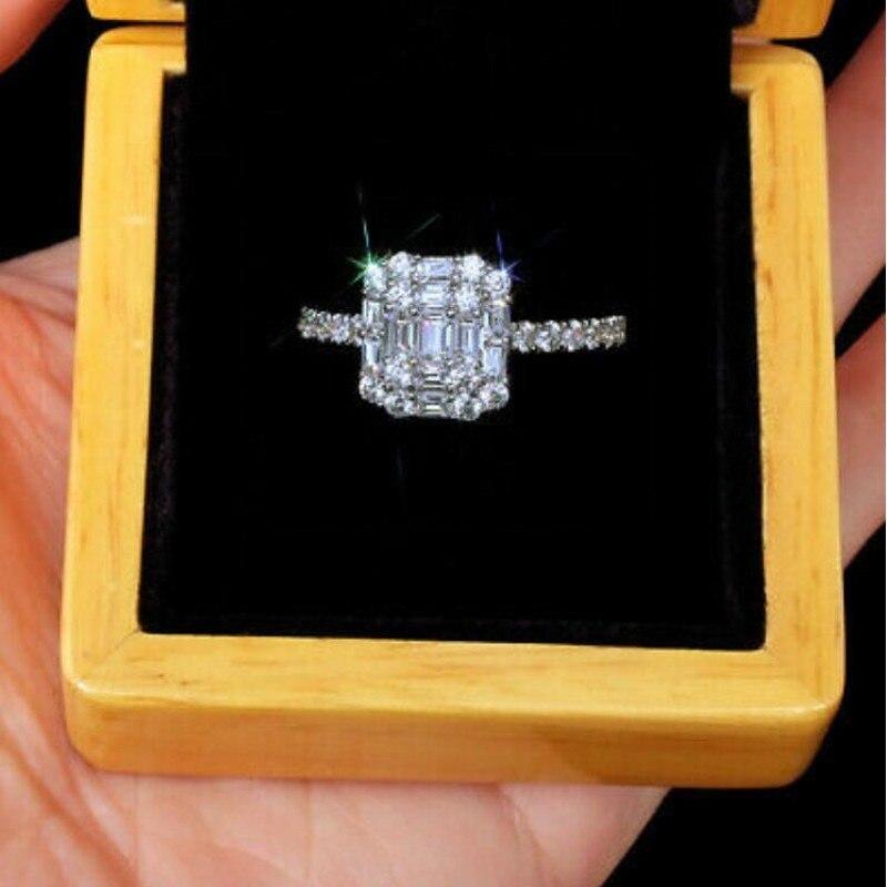Infinity tout nouveau bijoux de luxe 925 en argent Sterling T princesse coupe blanc clair 5A cubique zircone femmes bague de mariage cadeau - 5