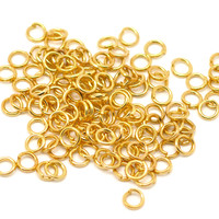 100Pcs Gold Plated Round Alloy Open Jump Rings Jewelry Diy Making Findings 5mm(1/4