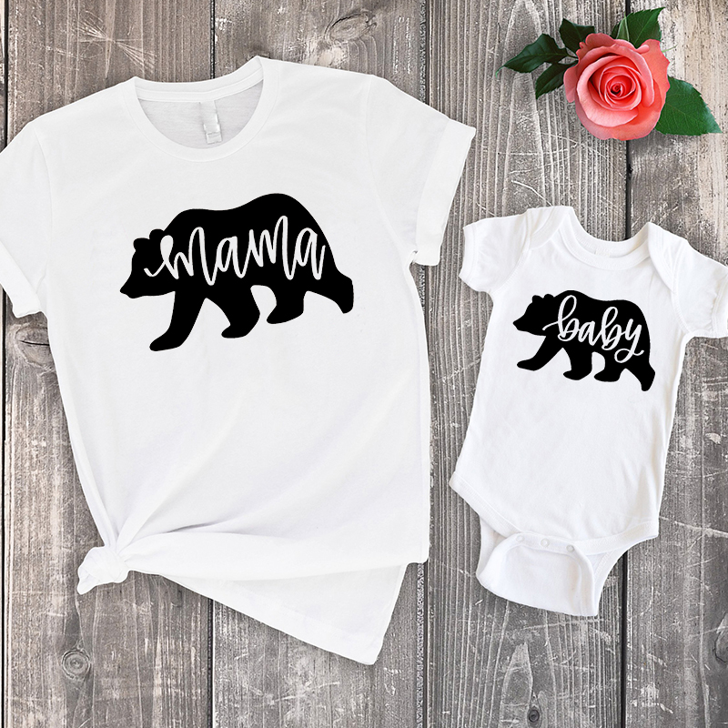 Matching Outfits Mama Bear Mommy And Daughter Matching Clothes Family Summer 2019 Tshirt Baby Cute Big Sister Little Sister