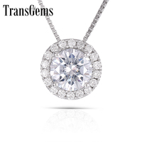 TransGems 14K White Gold 1 ct 6.5mm Lab Grown moissanite Diamond 8 Prongs Solitaire Pendant Necklace Solid for Women
