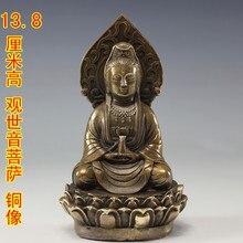 Latón Cobre Budismo Tallado kwan-yin Bodhisattva Guanyin Estatua de Buda Jardín Decoración 100% bienes de Latón de Bronce
