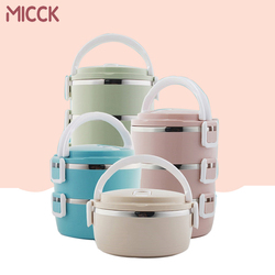 MICCK Multi-layer Kids Lunch Box Stainless Steel Thermal Heated Bento Box Food Containers Large Capacity Vacuum Insulation Boxes
