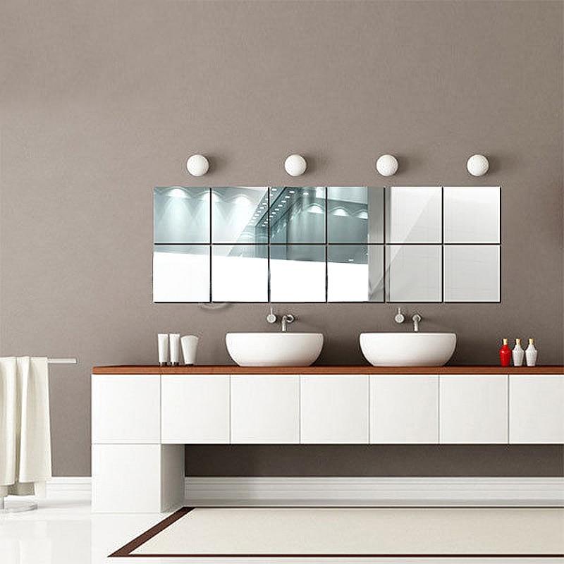 16pcs Set Self Adhesive 3D Mirrors Mosaic Tiles PVC Wall Stickers Square Shape Home Living