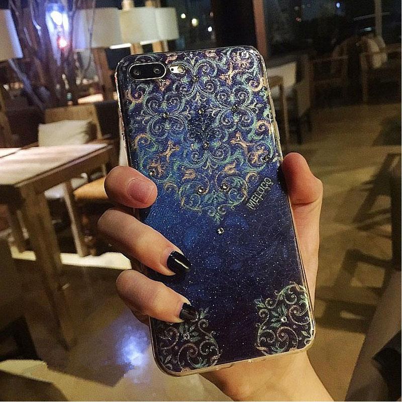 bilder für Für Apple iPhone 6 6 S 6 plus 7 7 Plus Luxus blume Fall Blingbling Glitter Strass Diamant TPU Silikon Fällen Rückseitige abdeckung