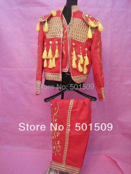 new red embroidery mens medieval suit stage performance Matador suit spanish