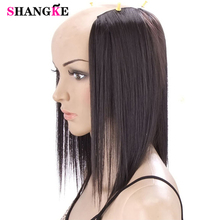 SHANGKE 3 Clips In Hair Extensions Medium Straight Hairpieces Natural Fake Pieces Heat Resistant Synthetic Hairstyles Women