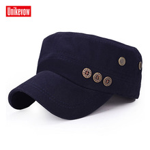 UNIKEVOW  Cotton Army Cap 3 bottons Flat top Hat for men Military cap breathable hat gorras