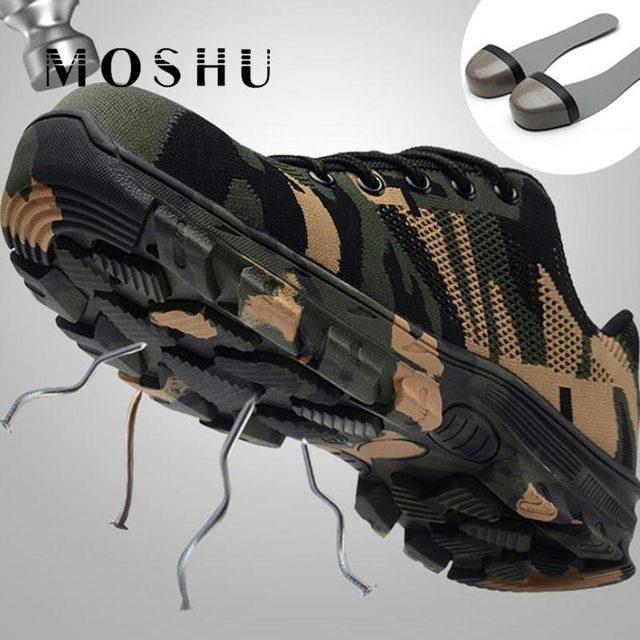 迷彩作業ブーツ安全靴のための男軍事ブーツ鋼つま先靴通気性作業パンク証拠建設ブーツ