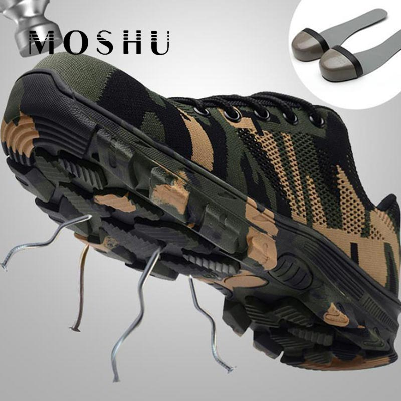 Camouflage Work Boots Safety Shoes for Man military boots Steel Toe Shoes Breathable Work Puncture Proof Construction Boots