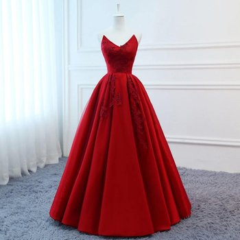 High Quality Silk Satin 2019 Modest Prom Dresses Long Red Wedding Evening Dress Floral Tulle Women Formal Party Gown Bride Gown