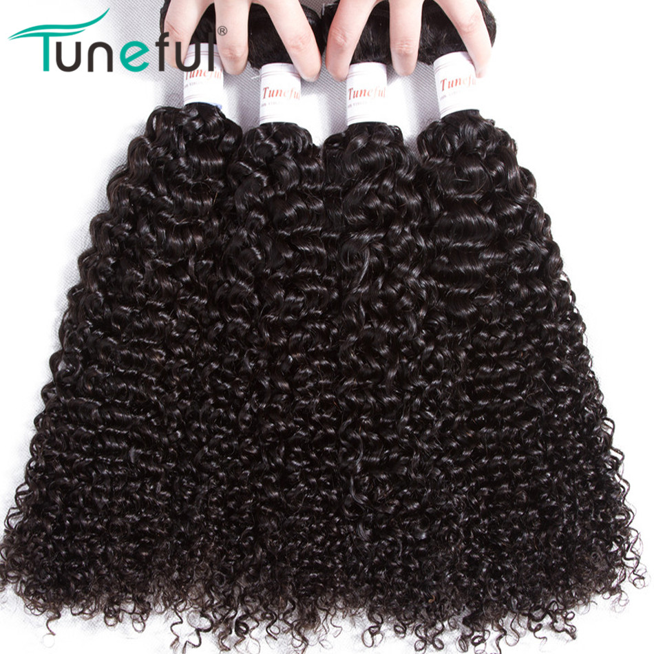 Deep Curly Brazilian Hair Bundles 4 Pcs Tuneful 100% Remy Hair Weaving Full And Bouncy Human Hair Weft Weave Extenions