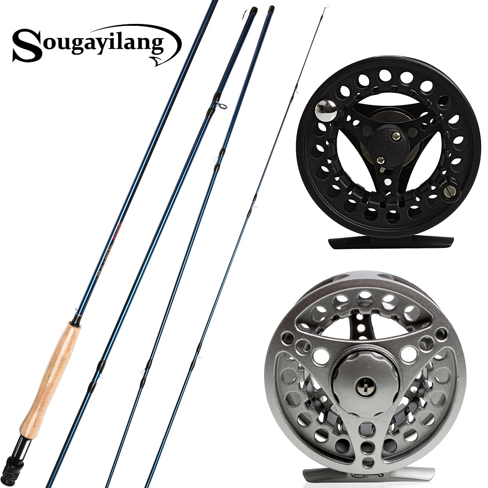 Sougayilang 2 7m Fly Fishing Rod with Reel Combos 4 Sections Carbon Fiber Material Carp Fly