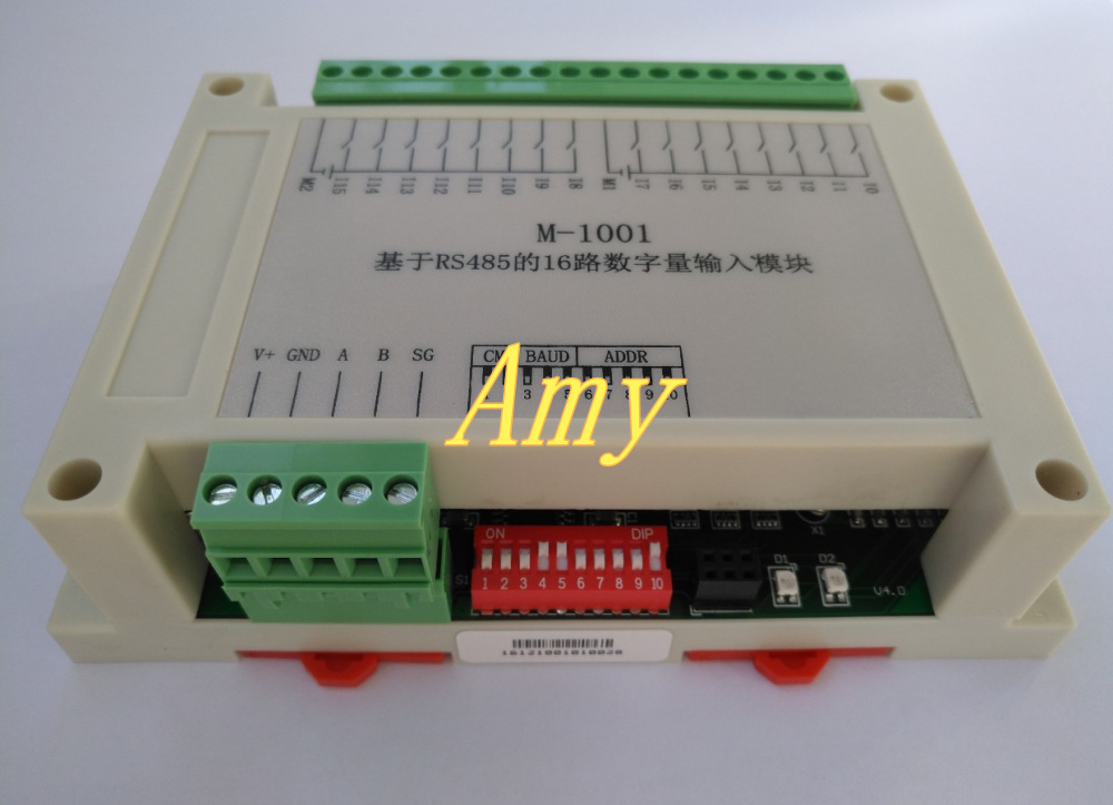 16 way digital input DI module RS485 Modbus data acquisition communication board PLC extension IO