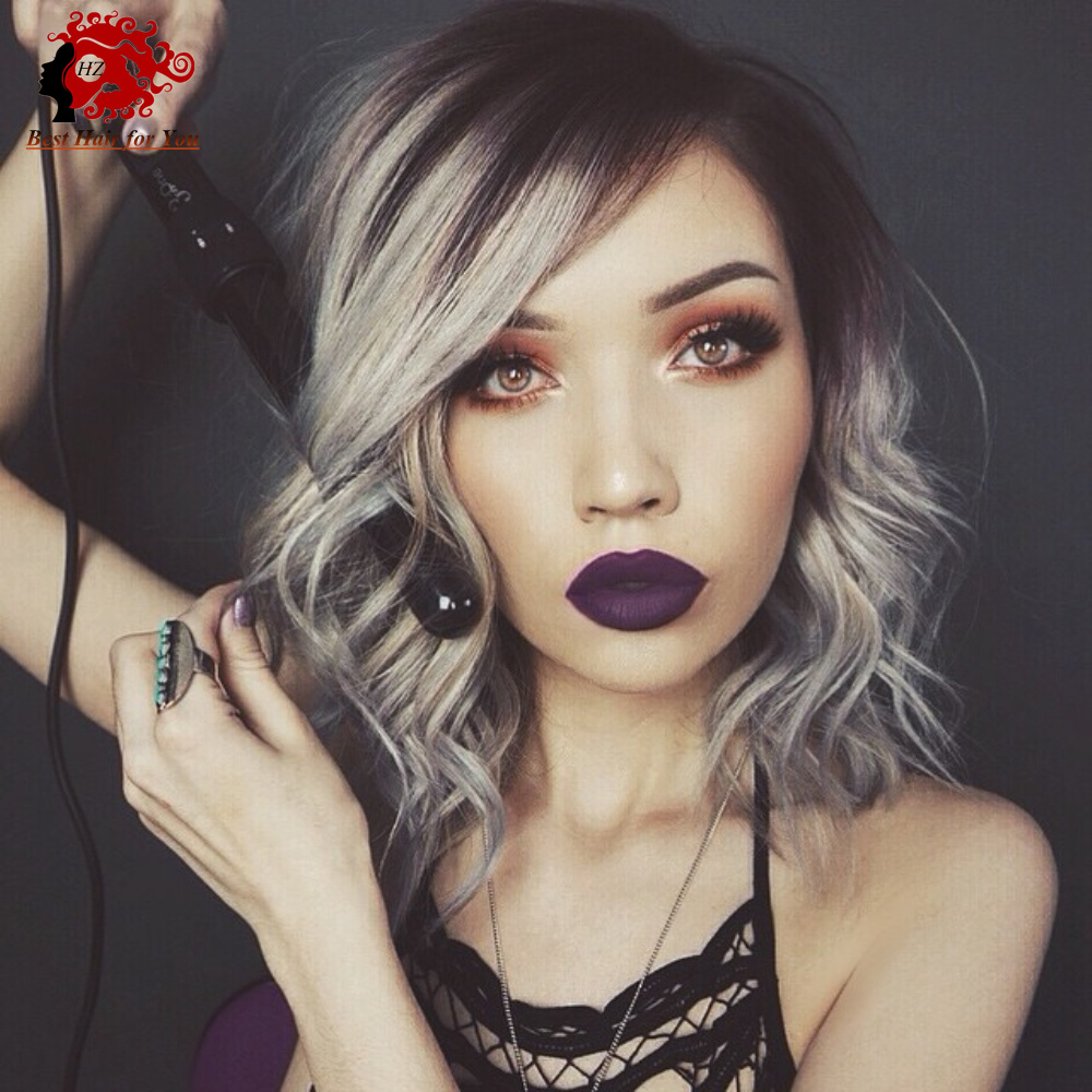 fashion 2016 side part omber grey human hair full lace wigs short wavy bob lace front wigs high. Black Bedroom Furniture Sets. Home Design Ideas