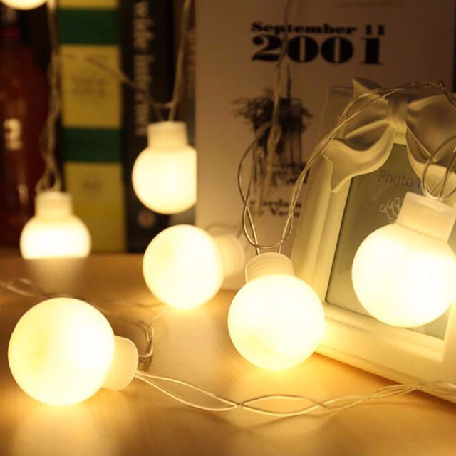 novelty outdoor lighting 5cm big size led ball string lamps white wire christmas lights fairy wedding