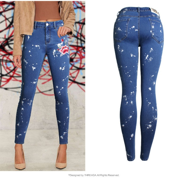 YSMARKET 2018 Europe Vogue Womens Slim Denim Jeans Embroidered Stretch Dot Sprayed Pencil Pants Female Denim Feet Jeans EAM073