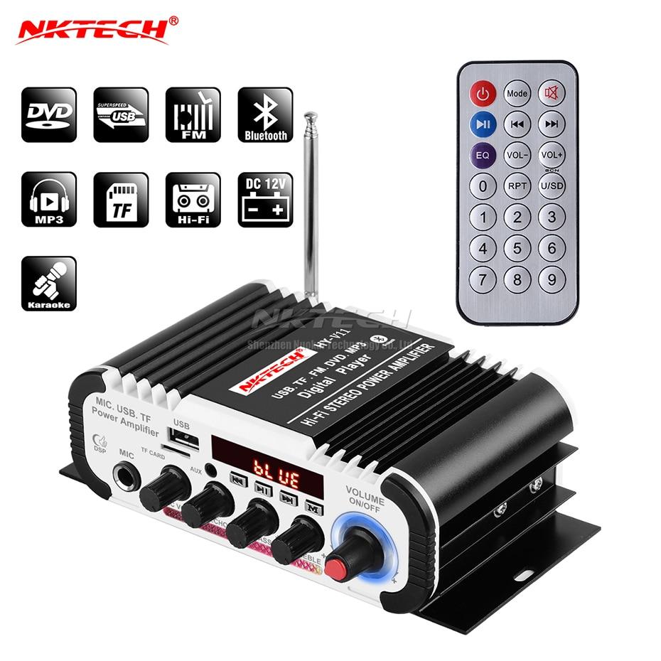 NKTECH HY-V11 Car Digital Audio Player Bluetooth Power Amplifier 2CH X 20W Hi-Fi Stereo BASS AMP With MIC Karaoke Reverberation