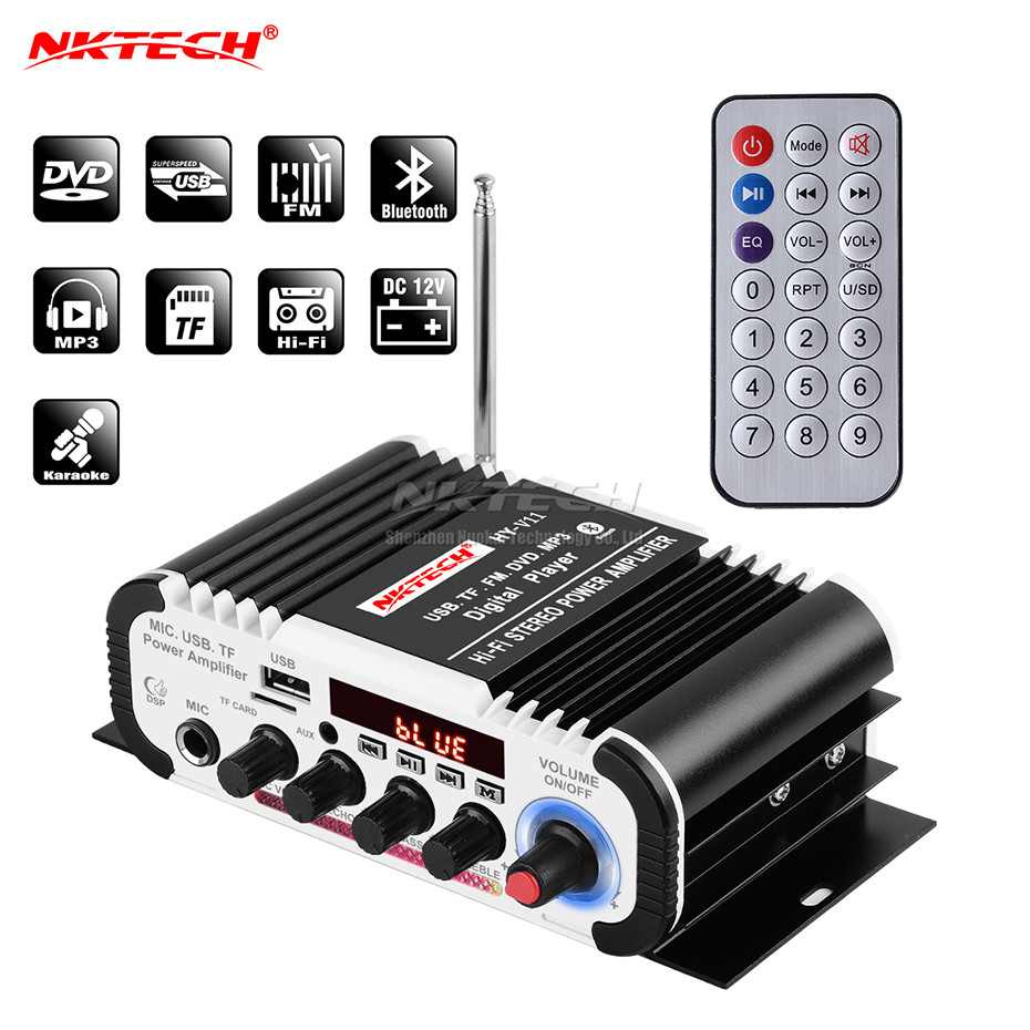 NKTECH MA-180 Car Digital Audio Player Power Amplifier 2x 20W Hi-Fi Stereo BASS