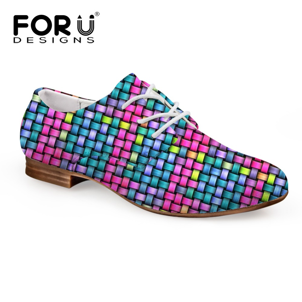 ФОТО FORUDESIGNS Women Flats Fashion Spring Oxford Shoes for Female Casual Mixed Color Leather Shoes Woman Bussiness Lace Up Shoes