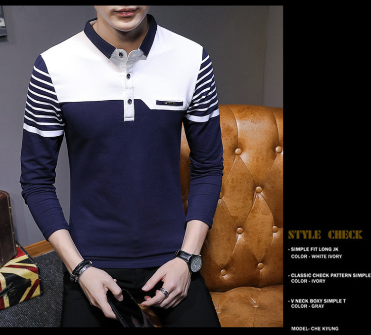 Business Casual Long Sleeve Men Polo Shirt Striped Autumn Winter Polos Cotton Slim Fit Camisa Polo Masculina 74