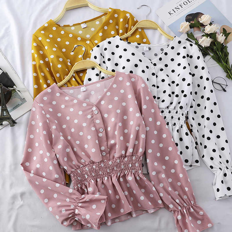 Women Polka Dot Blouses and Tops V Neck Casual 2019 Spring Summer Black White Ruffle Shirts Chiffon Long Sleeves Cheap Sale