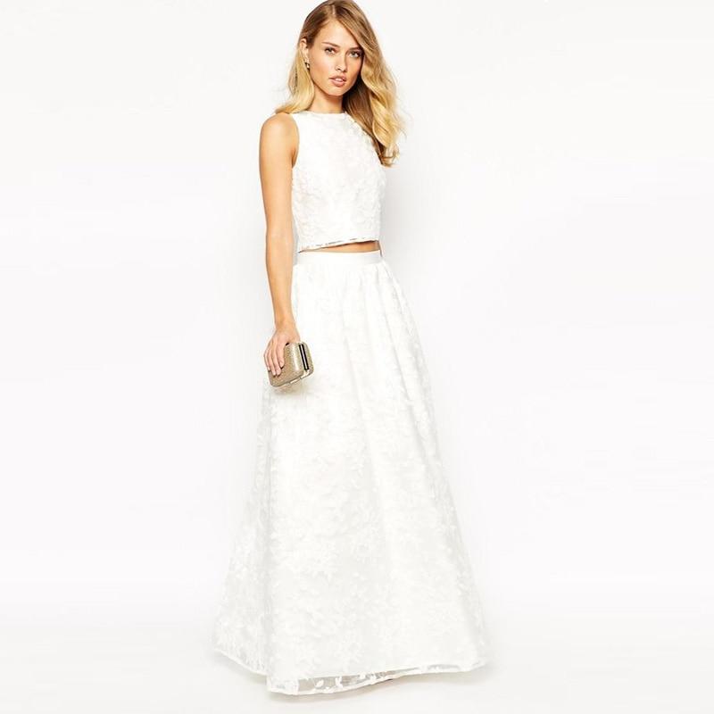 Pure White Long Lace Skirts 2016 Custom Made A Line Floor Length Women Evening Part Skirts Maxi saias
